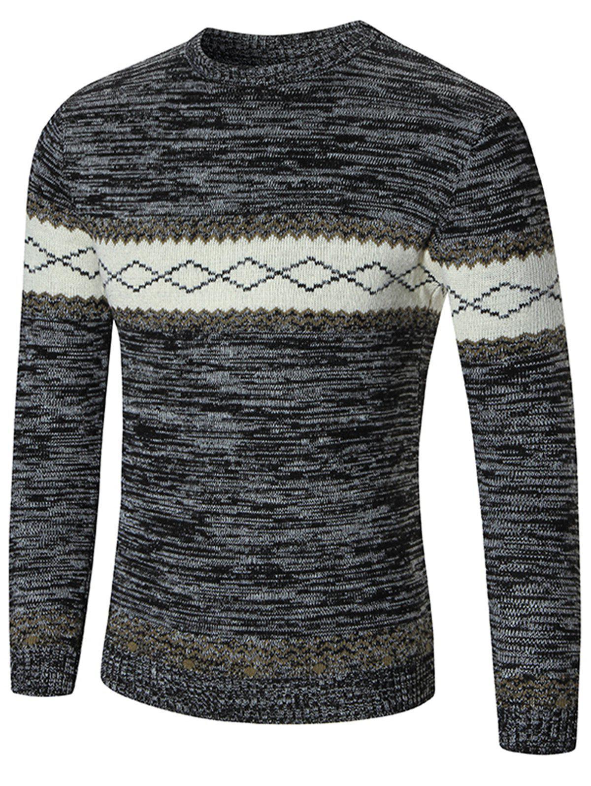 Crew Neck Space Dye Rhombus Pattern Sweater 218935403