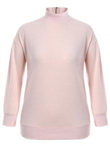 Zipper High Collar Plus Size Sweatshirt - Pink 4xl