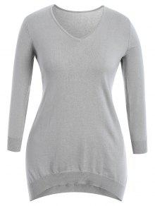 High Low Plus Size Slit Knitwear Dress - Gray Xl