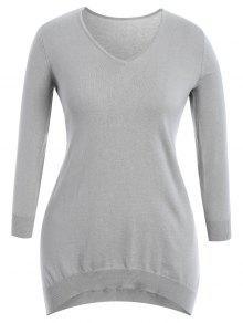 High Low Plus Size Slit Knitwear Dress - Gray 2xl