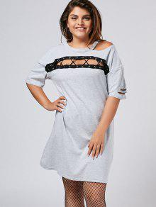 Plus Size Cut Out Ripped Tee Dress - Gray Xl