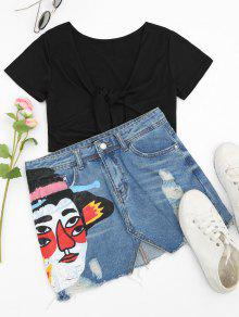 Ripped Figure Graphic Denim Skirt - Denim Blue S