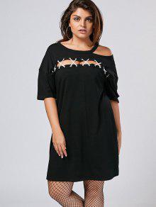 فستان تيه الحجم الكبير قطع باردة الكتف - أسود 5xl