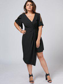 Plus Size Slit Asymmetrical Dress - Black 5xl