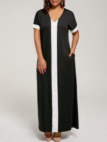 فستان الحجم الكبير ماكسي مع قصيرة الأكمام - أسود Xl