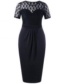 Plus Size Lace Trim Sheer Bleistift Kleid - Schwarz 4xl