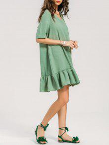 فستان قصير كم قصير - أخضر Xl