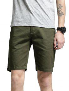 Side Pockets Zip Fly Shorts - Green 34