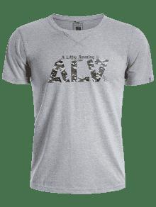 Corta Camiseta De Gr 225;fica Hombres Manga L Camo Gris qrrdwtExI
