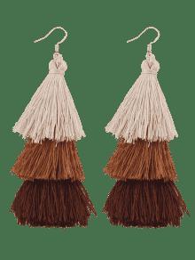 Tassel Layered Hook Drop Earrings - Brown