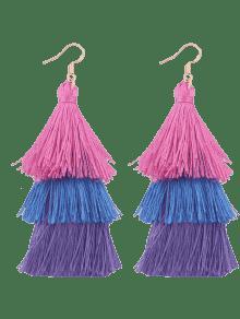 Tassel Layered Hook Drop Earrings - Pink And Purple