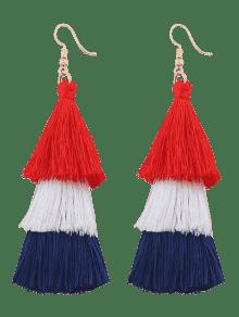 Tassel Layered Hook Drop Earrings - Rose Red + Blue