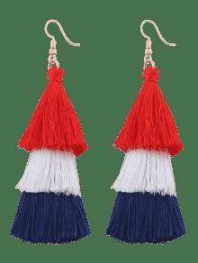 Tassel Layered Hook Drop Earrings - Rose Red + Blue