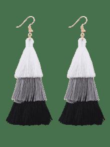 Pendientes Colgantes En Forma De Borla - Negro + Blanco