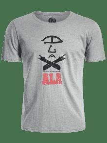 Camiseta 243;n Gr Mezcla Manga De Corta Algod U8qzcZXw