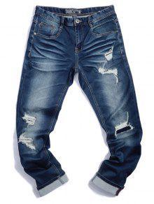 m nner zerrissene jeans mit rei verschluss denim blau jeans 38 zaful. Black Bedroom Furniture Sets. Home Design Ideas
