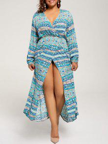 فستان طويلة الأكمام الحجم الكبير ماكسي بوهيمي - البحيرة الزرقاء 4xl