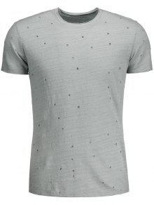 Mens Distressed Slub Baumwoll-T-Shirt - Grau Xl