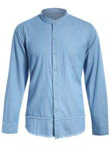 Frayed Hem Mandarin Collar Denim Shirt - Light Blue M