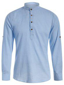 الياقة الماندرين نصف زر قميص الدنيم - الضوء الأزرق L