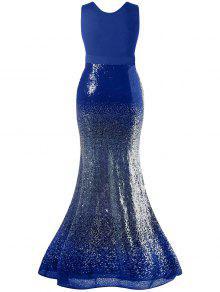 cc1937f1a40 37% OFF  2019 Plus Size Maxi Fishtail Dress In BLUE