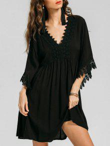 فستان امبراطورية الخصر دانتيل التريم مصغر - أسود Xl
