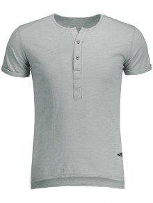 T-shirt Blanc Basique En Coton  - Gris Clair L