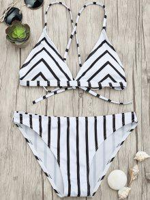 Chevron Stripe Padded Strappy Bikini Set - White And Black L