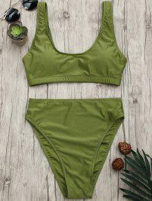 Ensemble De Bikini Bralette à Coupe Rapide - Vert L