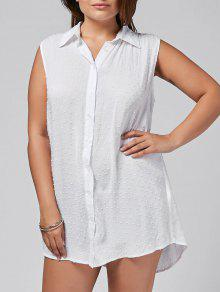 Dotted Sleeveless Plus Size Shirt - White 3xl