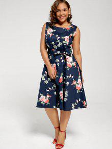 17102d972960d 29% OFF] 2019 Floral Sleeveless Plus Size Tea Length Dress In ...