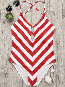 Chevron Stripe Shaping Plunge One Piece Swimsuit - Red And White S