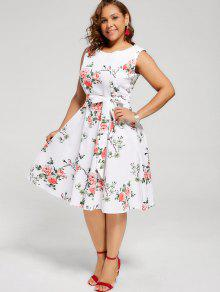 35% OFF] 2019 Floral Sleeveless Plus Size Tea Length Dress In WHITE ...