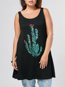 Plus Size Sequins Cactus Pattern Tank Top - Black 3xl