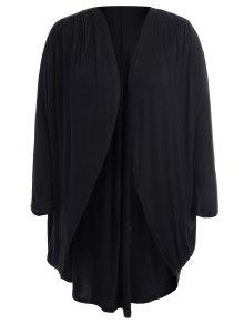 Collarless Plus Size Open Front Top - Black 4xl