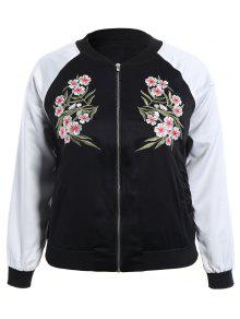 Plus Size Embroidered Raglan Sleeve Baseball Jacket - Black 3xl