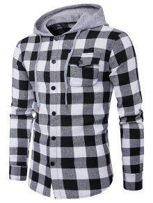 مقنعين لوحة الجيب الترتان قميص - أسود أبيض Xl