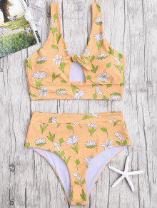 Floral High Waist Bikini Swimwear - Earthy L