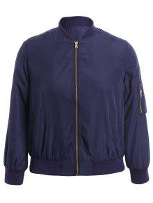 Plus Size Zippered Bomber Jacket - Blue 4xl