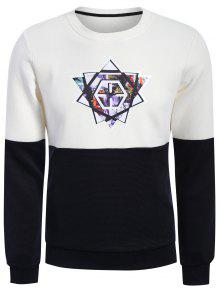 Pullover Graphic Color Block Sweatshirt - White And Black Xl