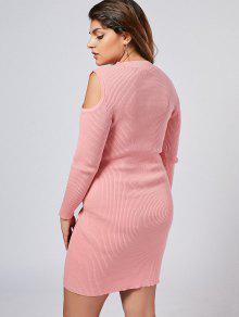 2f8445be783 32% OFF  2019 Plus Size Cold Shoulder Ribbed Sweater Dress In PINK ...