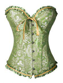 Lace Up Brocade Corset With Thong Panty - Green L