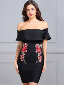 فستان ملائم طباعة الأزهار كشكش - أسود S