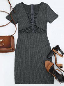 Criss Cross Cut Out Plunge Knitted Dress - Deep Gray S