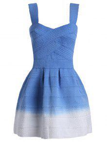 Sweetheart Neck Ombre Mini Dress - Blue