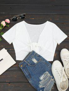 Plunging Neck Cut Out Crop Tee - White M