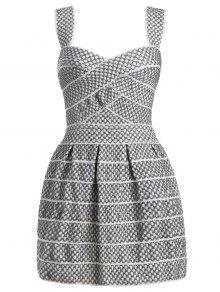 Sweetheart Neck Shiny Mini Dress - Silver White L