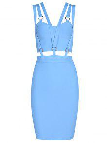 Zippered Cut Out Fitted Dress - Sky Blue S