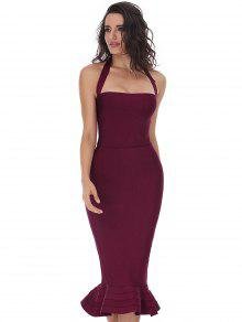 Halter Fitted Bandage Dress - Deep Red M