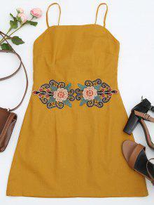 Blumiges Gepixtes Cami-Kleid - Ingwer-gelb S